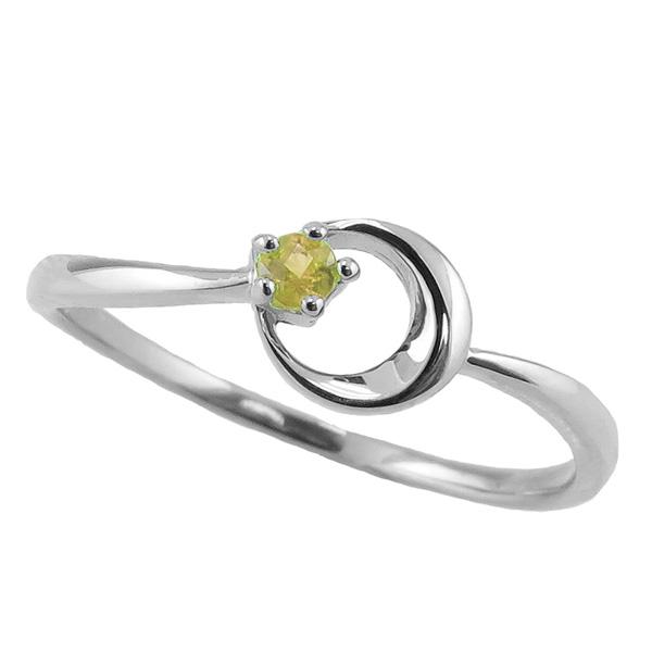 ペリドットリング 8月誕生石 プラチナ 月モチーフ moon 指輪 Pt900 ピンキーリング カラーストーン ギフト