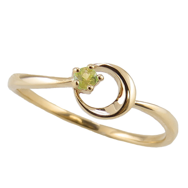 ペリドットリング 8月誕生石 18金 月モチーフ moon 指輪 K18 ピンキーリング カラーストーン ギフト
