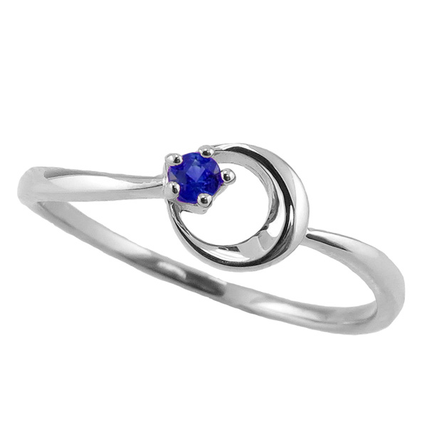 サファイアリング 9月誕生石 プラチナ 月モチーフ moon 指輪 Pt900 ピンキーリング カラーストーン ギフト