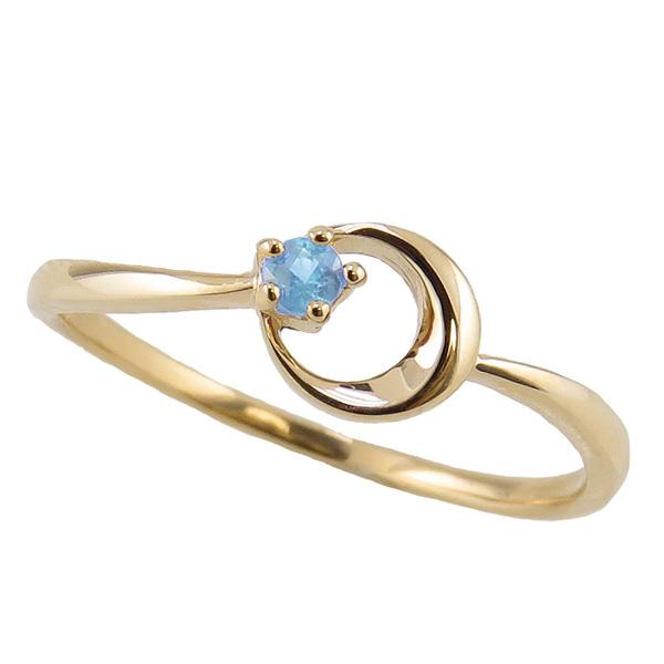 ブルートパーズ リング 11月誕生石 18金 月モチーフ moon 指輪 K18 ピンキーリング カラーストーン ギフト