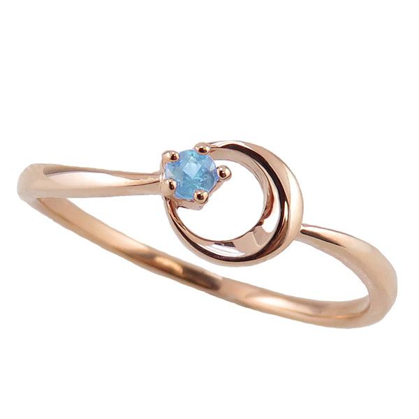 ブルートパーズ リング 11月誕生石 10金 月モチーフ moon 指輪 K10 ピンキーリング カラーストーン ギフト ホワイトデー