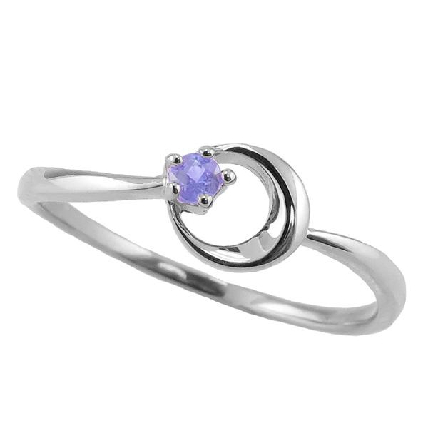 タンザナイト リング 12月誕生石 プラチナ 月モチーフ moon 指輪 Pt900 ピンキーリング カラーストーン ギフト
