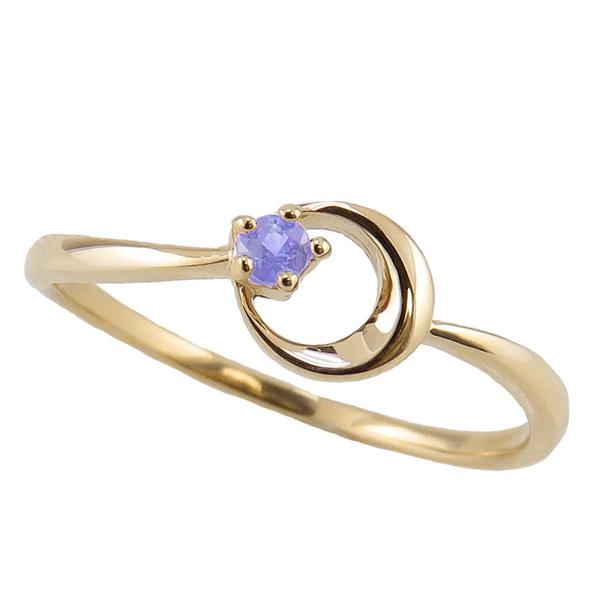 タンザナイト リング 12月誕生石 18金 月モチーフ moon 指輪 K18 ピンキーリング カラーストーン ギフト ホワイトデー