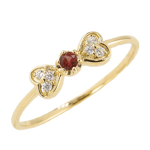 ガーネットリング 1月誕生石 18金 リボン ハート モチーフ 指輪 K18 ピンキーリング カラーストーン ギフト