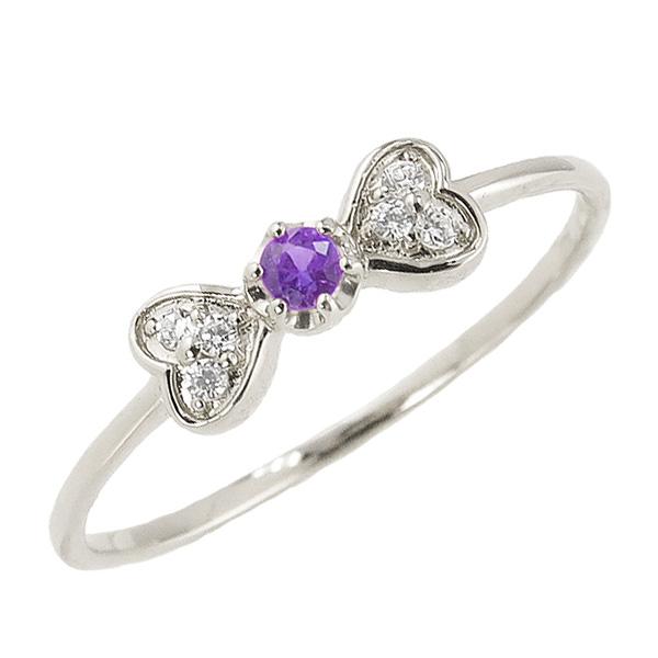 アメジストリング 2月誕生石 プラチナ リボン ハート モチーフ 指輪 Pt900 ピンキーリング カラーストーン ギフト