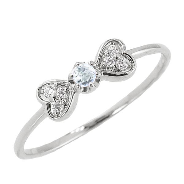 アクアマリンリング 3月誕生石 プラチナ リボン ハート モチーフ 指輪 Pt900 ピンキーリング カラーストーン ギフト ホワイトデー