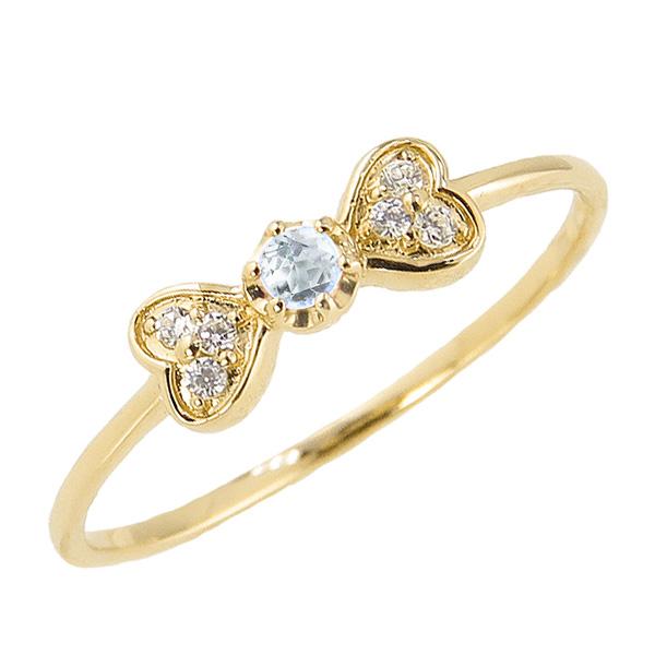 アクアマリンリング 3月誕生石 18金 リボン ハート モチーフ 指輪 K18 ピンキーリング カラーストーン ギフト