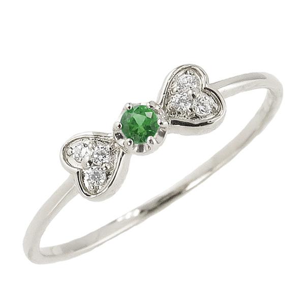 エメラルドリング 5月誕生石 プラチナ リボン ハート モチーフ 指輪 Pt900 ピンキーリング カラーストーン ギフト ホワイトデー