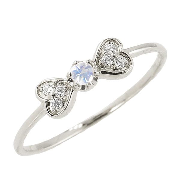 ブルームーンストーンリング 6月誕生石 プラチナ リボン ハート モチーフ 指輪 Pt900 ピンキーリング カラーストーン ギフト