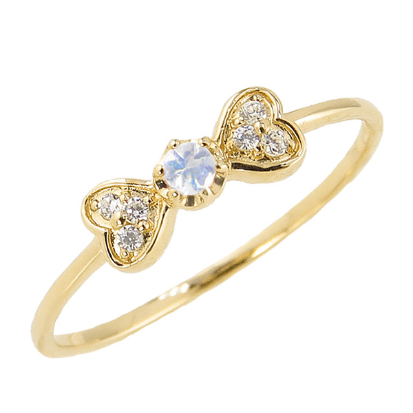 ブルームーンストーンリング 6月誕生石 18金 リボン ハート モチーフ 指輪 K18 ピンキーリング カラーストーン ギフト