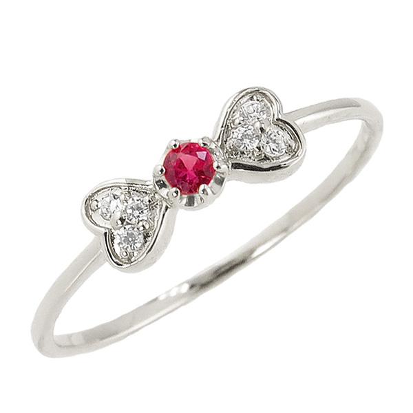 ルビーリング 7月誕生石 プラチナ リボン ハート モチーフ 指輪 Pt900 ピンキーリング カラーストーン ギフト クリスマス プレゼント xmas