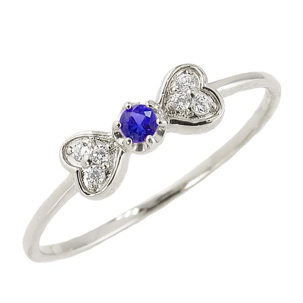 サファイアリング 9月誕生石 プラチナ リボン ハート モチーフ 指輪 Pt900 ピンキーリング カラーストーン ギフト