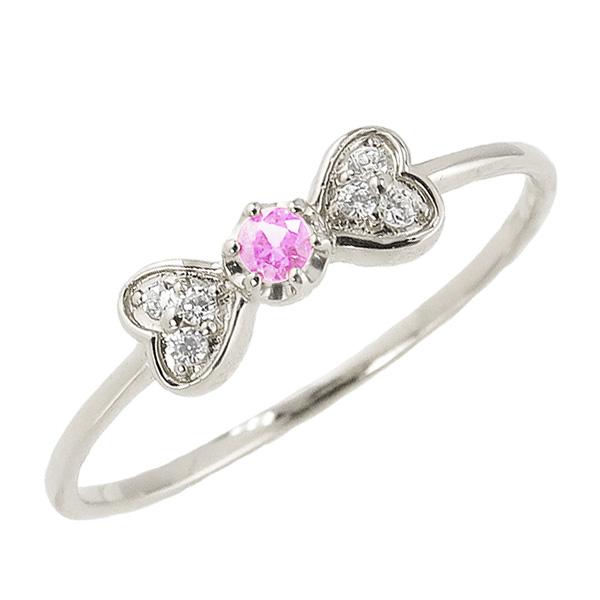 ピンクトルマリンリング 10月誕生石 プラチナ リボン ハート モチーフ 指輪 Pt900 ピンキーリング カラーストーン ギフト