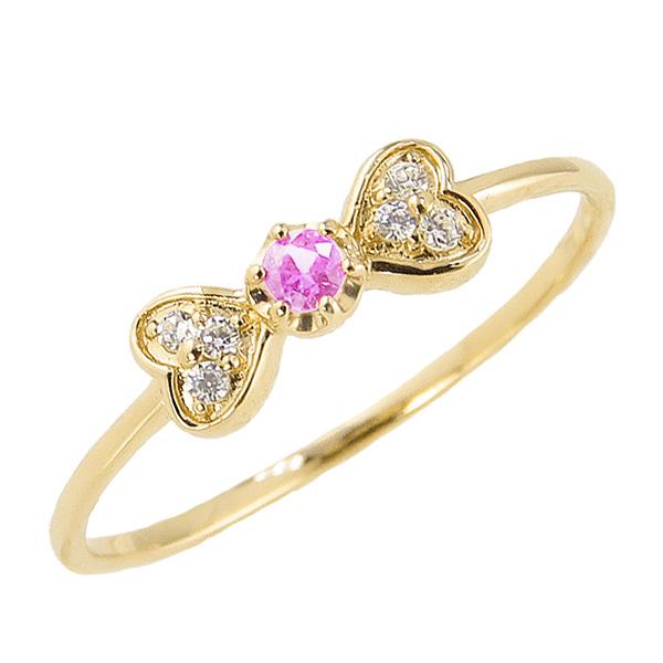 ピンクトルマリンリング 10月誕生石 18金 リボン ハート モチーフ 指輪 K18 ピンキーリング カラーストーン ギフト