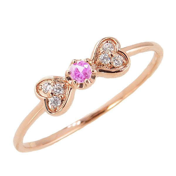 ピンクトルマリンリング 10月誕生石 10金 リボン ハート モチーフ 指輪 K10 ピンキーリング カラーストーン ギフト