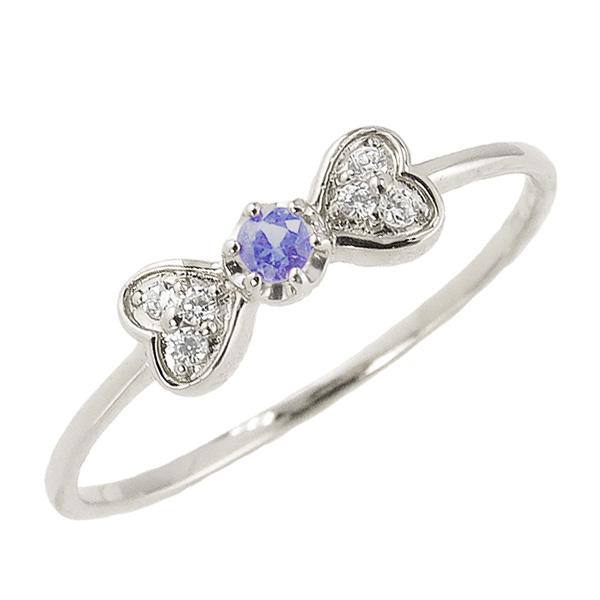 タンザナイトリング 12月誕生石 プラチナ リボン ハート モチーフ 指輪 Pt900 ピンキーリング カラーストーン ギフト
