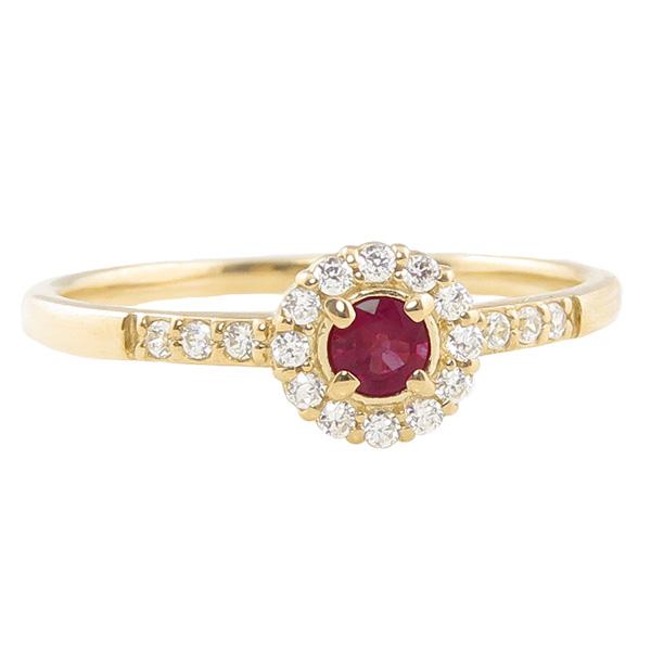 ガーネットリング 指輪 取り巻き 1月誕生石 18金 K18 ピンキーリング カラーストーン ギフト ホワイトデー
