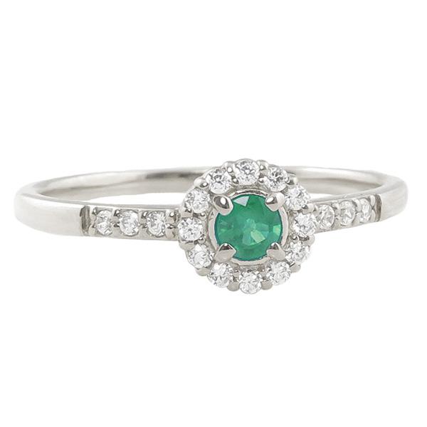 エメラルドリング 指輪 取り巻き 5月誕生石 プラチナ Pt900 ピンキーリング カラーストーン ギフト ホワイトデー