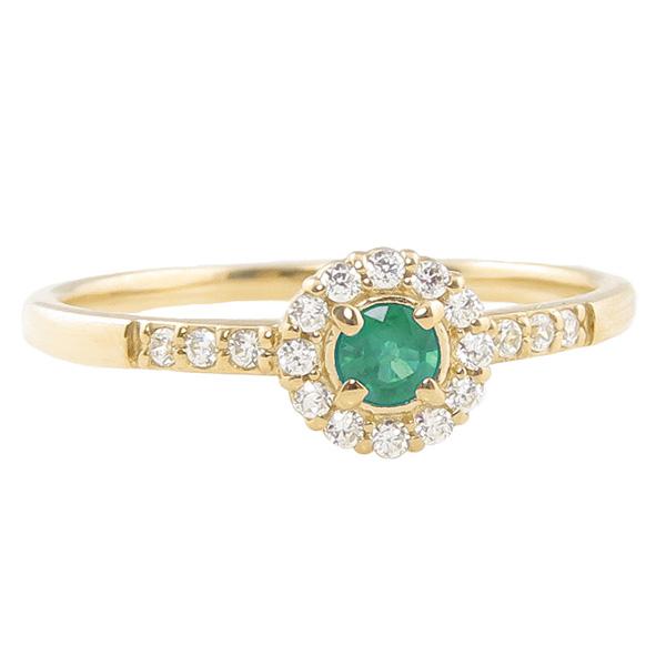 エメラルドリング 指輪 取り巻き 5月誕生石 18金 K18 ピンキーリング カラーストーン ギフト