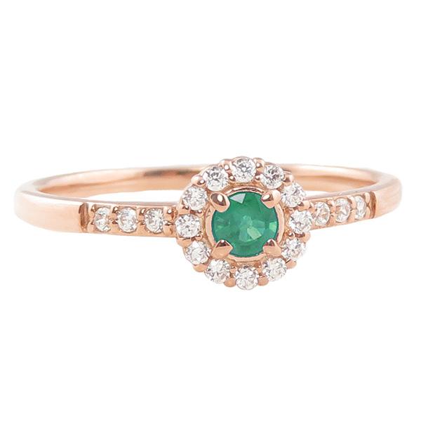 エメラルドリング 指輪 取り巻き 5月誕生石 10金 K10 ピンキーリング カラーストーン ギフト