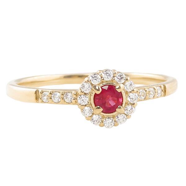 ルビーリング 指輪 取り巻き 7月誕生石 18金 K18 ピンキーリング カラーストーン ギフト