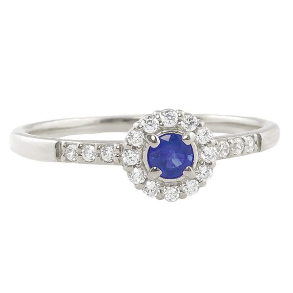 サファイアリング 指輪 取り巻き 9月誕生石 プラチナ Pt900 ピンキーリング カラーストーン ギフト ホワイトデー
