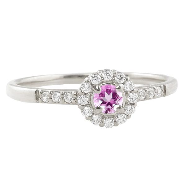 ピンクトルマリンリング 指輪 取り巻き 10月誕生石 プラチナ Pt900 ピンキーリング カラーストーン ギフト