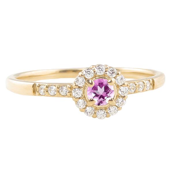 ピンクトルマリンリング 指輪 取り巻き 10月誕生石 18金 K18 ピンキーリング カラーストーン ギフト