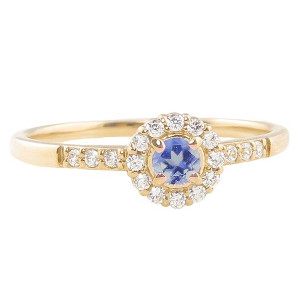 タンザナイト リング 指輪 取り巻き 12月誕生石 18金 K18 ピンキーリング カラーストーン ギフト ホワイトデー