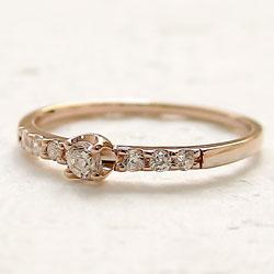 指輪 レディース セブンストーン ダイヤモンドリング ピンクゴールドK18 18金 0 15ct ダイヤリング 7石 シンプルPuTlXOkZiw
