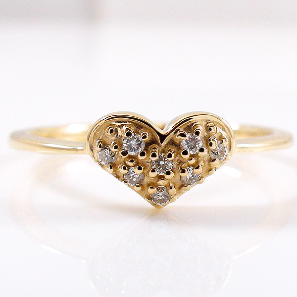 イエローゴールドK10 ギフト 可能 文字入れ 指輪 刻印 10金 ピンキーリング 工房 ハート エタニティリング 直販 指輪 究極