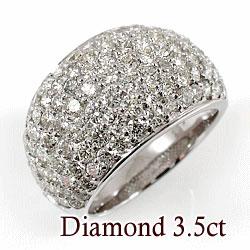 ホワイトゴールドK18 天然ダイヤモンド107石 3.50ct 記念日