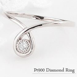 指輪 レディース ダイヤモンド ファランジ リング ミディリング プラチナ Pt900 ピンキーリング 一粒 しずく モチーフ クリスマス プレゼント xmas