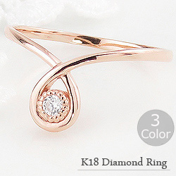 指輪 レディース ダイヤモンド ファランジ リング ミディリング 18金 ピンキーリング 一粒 しずく モチーフ クリスマス プレゼント xmas