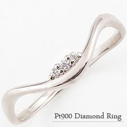 指輪 レディース ダイヤモンド ファランジ リング ミディリング プラチナ Pt900 ピンキーリング 3ストーン クリスマス プレゼント xmas