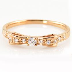 リボンリング リボン モチーフ ダイヤモンドリング 18金 ピンキーリング 指輪 レディース ribbon モチーフ 大人 ホワイト ピンク イエロー ゴールド 金 ボーナス プレゼント