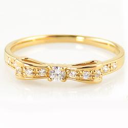 リボンリング リボン モチーフ ダイヤモンドリング 10金 ピンキーリング 指輪 レディース ribbon モチーフ ホワイト ピンク イエロー ゴールド 金 ホワイトデー プレゼント
