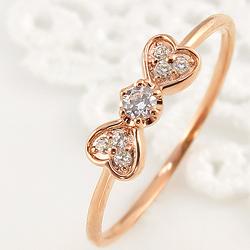 リボンリング ハート 18金 指輪 レディース ダイヤモンド 7石 セブンストーン ピンキーリング 1号~ 指輪 ゴールド ジュエリー クリスマス プレゼント xmas