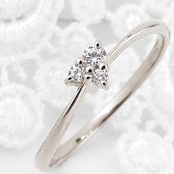 指輪 レディース プラチナリング ハート 婚約指輪 ダイヤモンドリング 3石 トリロジー 3ストーン Pt900 ピンキーリング 1号~ ジュエリー クリスマス プレゼント xmas