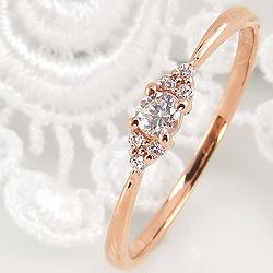 指輪 レディース ダイヤモンドリング 婚約指輪 18金 7石 セブンストーン ゴールド ピンキーリング 1号~ クリスマス プレゼント xmas
