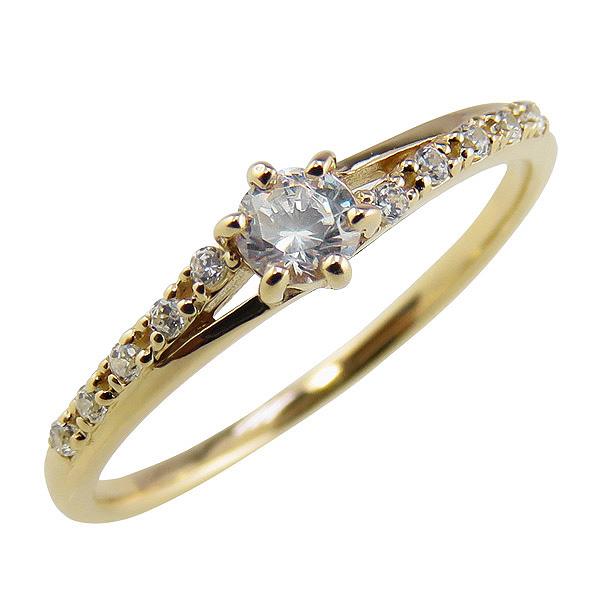 ダイヤモンドリング 10金 指輪 レディース K10 ゴールド デザインリング ファッションリング ピンキーリング 婚約指輪 ブライダル ファランジリング ミディリング クリスマス プレゼント xmas
