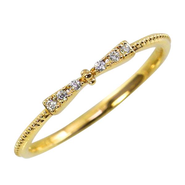 リボンリング 18金 ダイヤモンドリング ピンキーリング ファランジリング ミディリング 指輪 K18 1号~15号 レディース ジュエリー りぼん 通販 ギフト rr