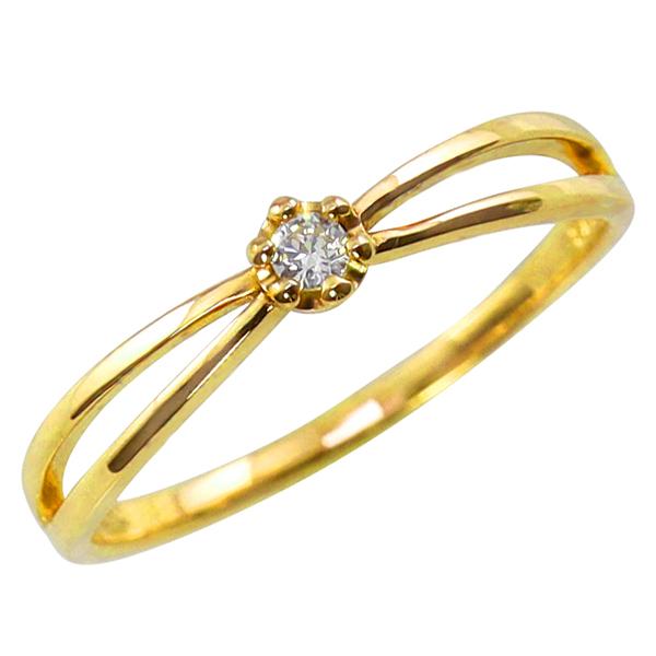 18金 一粒ダイヤモンドリング 指輪 交差 インフィニティ K18 diamond ピンキーリング ファランジリング ミディリング ギフト