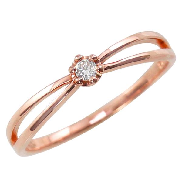 一粒ダイヤモンド リング 指輪 10金 交差 インフィニティ K10 ピンキーリング ファランジリング ミディリング ギフト ホワイトデー