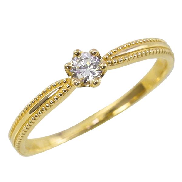 指輪 レディース 一粒ダイヤモンドリング クラウン 18金 王冠リング ミルウチ K18 ゴールド 重ね着け ピンキーリング モチーフ ホワイトデー プレゼント ホワイトデー