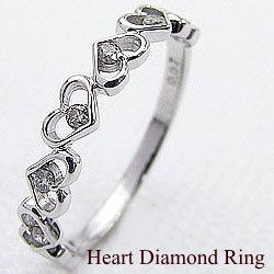 ハートリング ダイヤモンドリング 10金 指輪 ホワイトゴールドK10 ピンキーリング ファランジリング ミディリング 結婚記念日 アクセサリー ギフト 新生活 在宅 ファッション