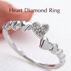 ハートリング ダイヤモンドリング 18金 指輪 ゴールドK18 ピンキーリング ファランジリング ミディリング K18WG 結婚記念日 誕生日 クリスマス ギフト