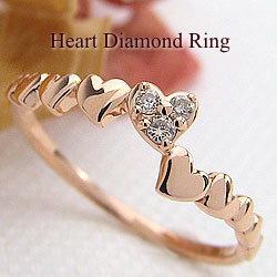 ハートリング ダイヤモンドリング 10金 指輪 ゴールドK10 ピンキーリング ファランジリング ミディリング K10PG レディースリング 結婚記念日 誕生日 クリスマス ギフト ホワイトデー