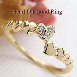 ピンキーリング ハート ダイヤモンドリング イエローゴールドK18 18金 レディースリング 婚約指輪 結婚記念日 誕生日 クリスマス 工房 直販 小指 ギフト