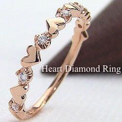 ピンキーリング 指輪 ハート ダイヤモンドリング ピンクゴールドK18 18金 ジュエリーショップ レディースリング 結婚記念日 誕生日 クリスマス 贈り物 かわいい ギフト